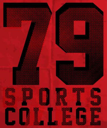 Sport college opleiding typografie, t-shirt graphics, vectoren