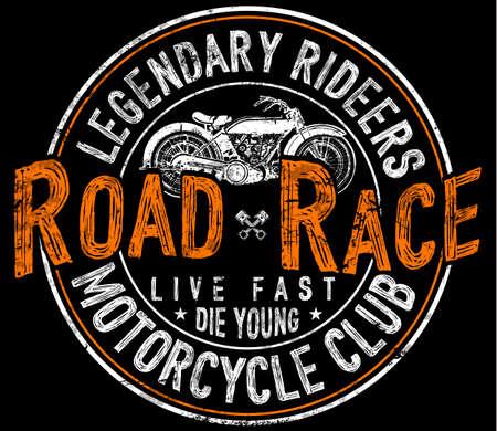 Vintage motorcycle t-shirt graphic illustration on dark background.