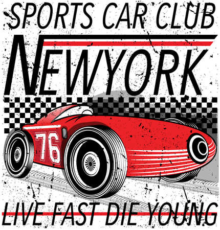 Red sports car banner with text live fast, die young. Illustration
