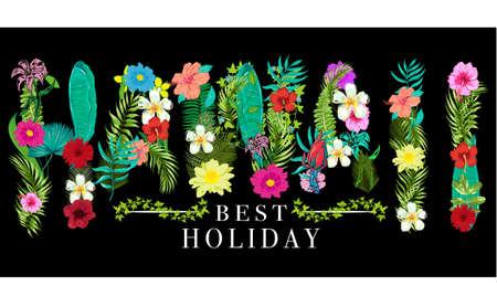 Hawaii Blumen Grafik Design Standard-Bild - 96213616