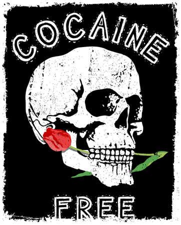 Skull Tee Poster vector illustration