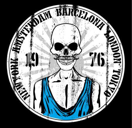 Skull Tee Poster Stock Illustratie