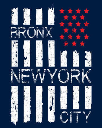 Grunge American flag with Bronx, New York City text vector illustration