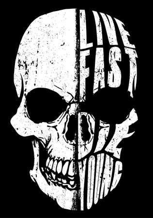 Il design del cranio con Live Fast, Die Young testo illustrazione vettoriale Vettoriali