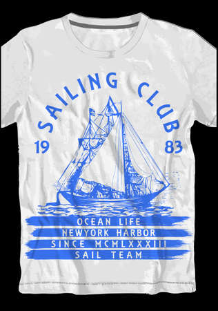 Sail tee design tshirt design Ilustracja