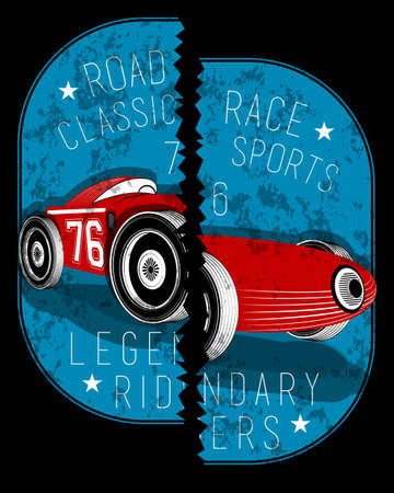 Broken locket car vintage graphic Çizim