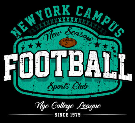 Football campus theme graphic design tee artwork template vector illustration 일러스트