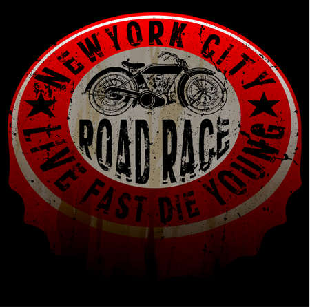 New york motorcycle tee print design Illustration
