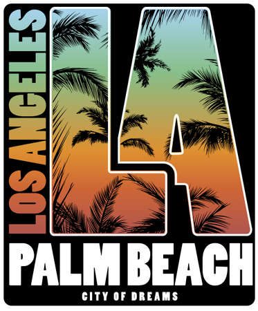 Los Angeles Palm Beach T shirt Poster design