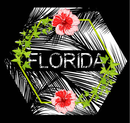 Florida flowers poster with black background