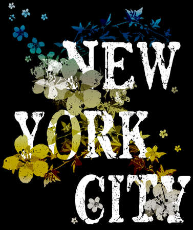 New york city typography poster fashion design with flowers