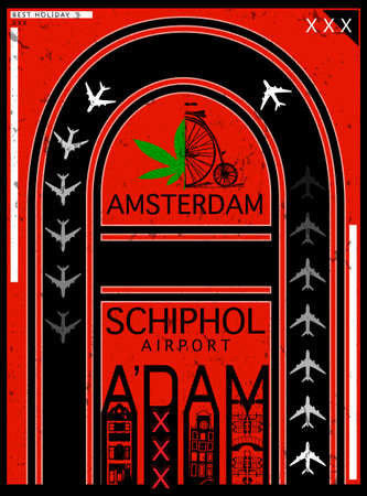 Airport Poster Amsterdam, Stock Vector Illustration: T-Shirt Design / Print Design / International Airport