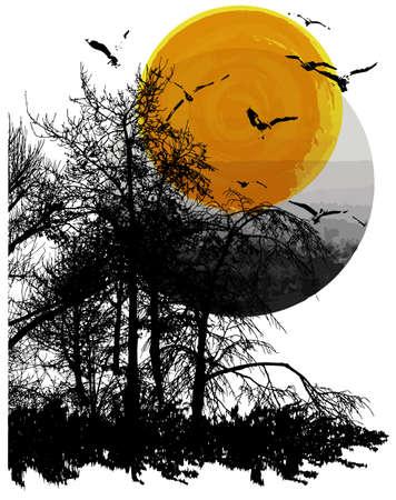 Natural background tee graphic design Çizim