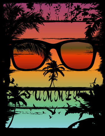 Sunset at tropical beach skull effect Stock Illustratie