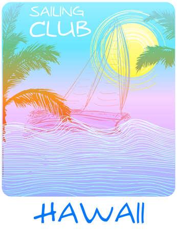 Hawaii sailing club tee poster Stock Illustratie