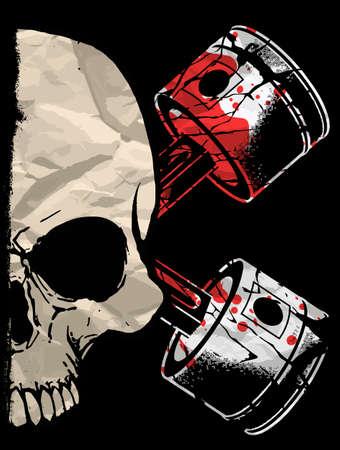 skull illustration  a mark of the danger warning  T-shirt graphics  cool skull illustration Illustration