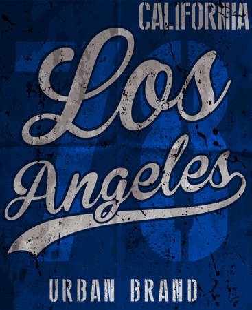 College Los Angeles typography for t-shirt graphics Stock Illustratie