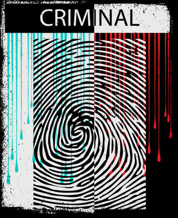Tee graphic design template with finger print design