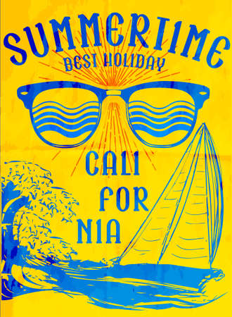 Summer tee poster design with sunglasses