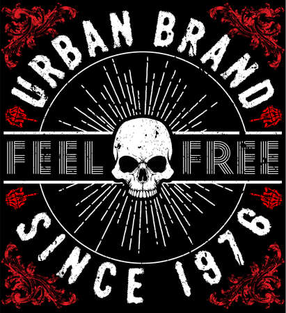 T-shirt Graphics design with skull illustration