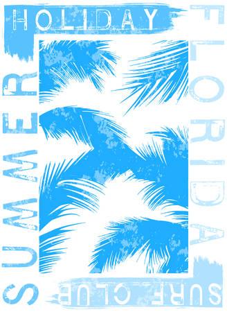 Summer beach vector background in retro style Stock Illustratie