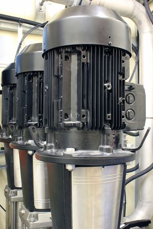 electric current: Electric motors driving water pumps.