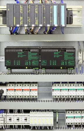 Industrial automation and control with PLC, converters, miniature circuit breakers and relays. Stock Photo - 8014233