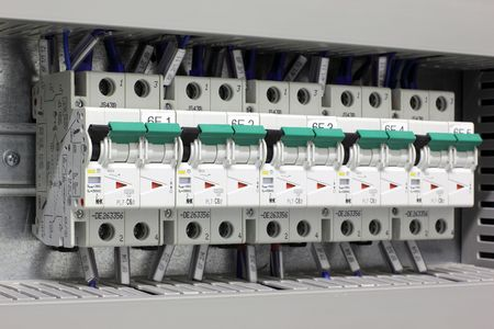 Miniature circuit breakers protecting industrial electric installations. photo