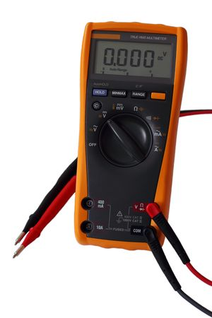 Yellow digital electric multimeter with probes isolated on white. Standard-Bild