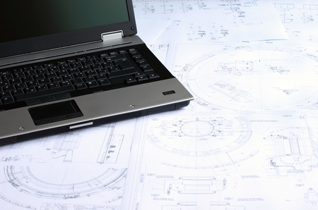Computer aided design of mechanical engineering drawings. Stock Photo - 8550109