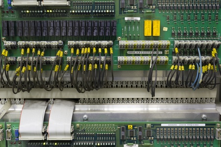 Industrial electronic board in automation process.