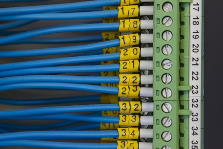 remote controls: Close up of green electric terminals with blue cables connected, used for industrial signaling.