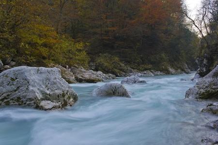 River stream in autumn (Tolminska korita, Soca valley, Slovenia).