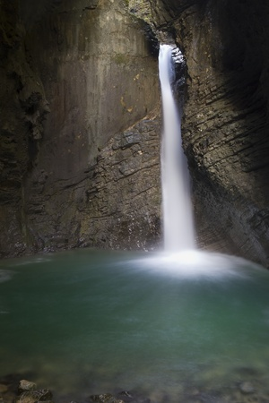 Alpine waterfall Kozjak near Kobarid (Slovenia) Archivio Fotografico