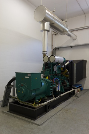 outage power: Emergency diesel generator used as a backup power supply in industry.