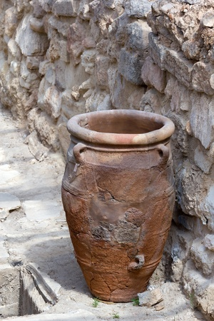 minoan: Minoan storage jar called pithoi at Knossos archaeological site in Crete (Greece).