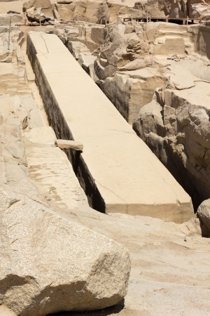obelisk stone: The unfinished obelisk at stone quarries of Aswan, Egypt Stock Photo