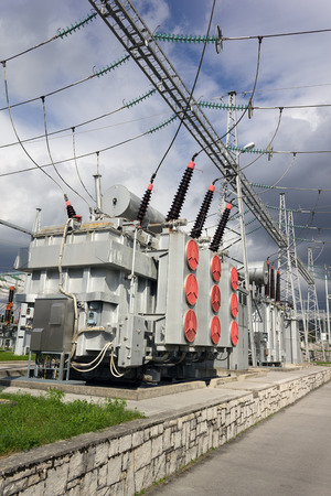 Electric power transformers in high voltage substation.
