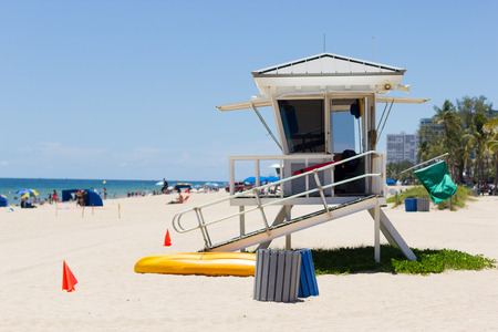 guard house: Life guard tower at Fort Lauderdale, Florida (shallow depth of field).