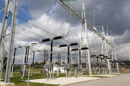 power distribution: Electricity substation with electrical power equipment.