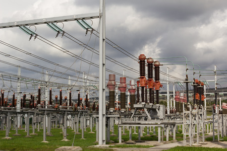 Electricity distribution station with electrical power equipment.
