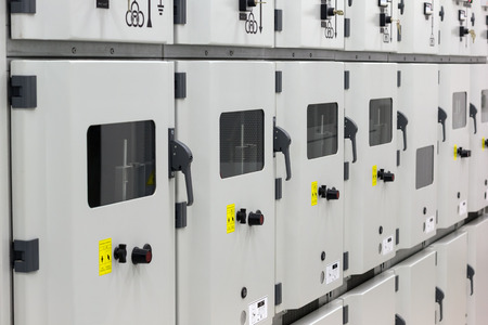 power distribution: Metal enclosed medium voltage electrical energy distribution substation. Stock Photo