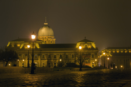 Night shot of Royal Palace hosting Hungarian national gallery, Budapest, Hungary Editorial