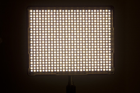 dimmer: LED video light with variable color temperature. Stock Photo
