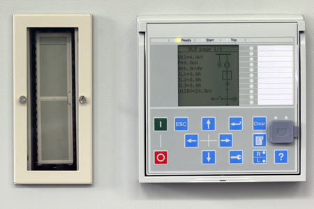 numerical: Numerical power system protection relay with test switch Stock Photo