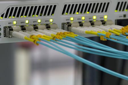 Optical fibre communication panel in a data center. Archivio Fotografico