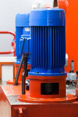 Electric motor in industrial hydraulic application. Archivio Fotografico