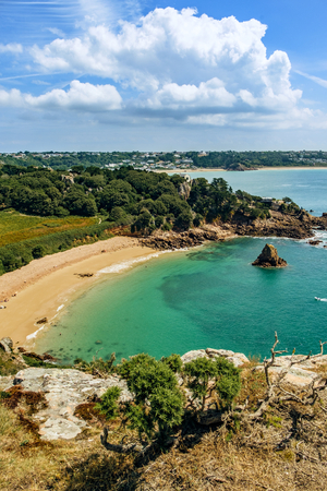 Idyllic Beach view of Beauport Bay, Jersey, Channel Islands, United Kingdom