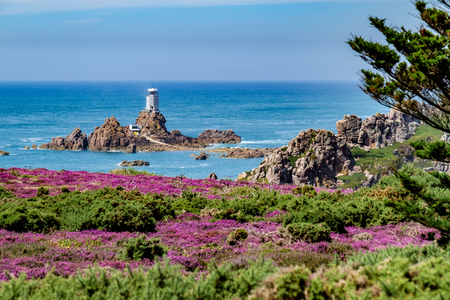 Corbiere Lighthouse, Jersey, Channel Islands, United Kingdom Archivio Fotografico