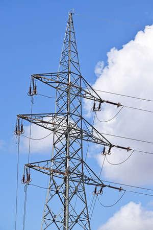 electricity pylon: Electricity pylon in the city Stock Photo